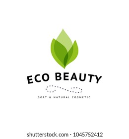 Vector transparent beauty, eco cosmetics and healthy treatment floral symbol in green colors isolated on white background. Perfect for cosmetic, skin products and health care fashion insignia.