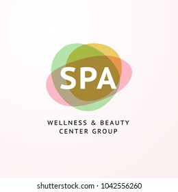 Vector transparent beauty, spa and yoga logo with stylized stone symbols in light colors isolated on white background. Good for massage salon, wellness and health care center, fashion insignia design.