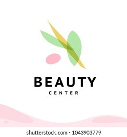 Vector transparent beauty, spa, and yoga floral symbols in light colors isolated on white background. Perfect for massage saloon, wellness and health care centers, fashion insignia design.