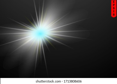 Vector transparent bright star and sun shine.