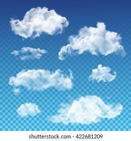 Vector transparent clouds set. Realistic transparent white cloud design templates.