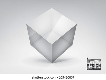 Vector  transparent cube for your  graphic design, you can change colors for the background