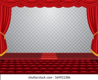 vector transparent empty stage with red curtain and empty auditorium, layered and editable