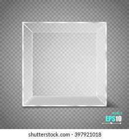 Vector Transparent Glass Cube Isolated on Transparent Background.