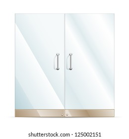 Vector Transparent Glass door isolated on white