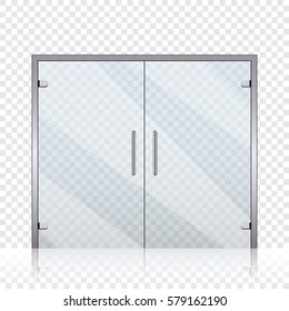 Vector transparent glass doors on transparent background