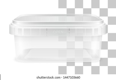 Vector transparent low rectangular empty plastic bucket for storage of foodstuff, butter or ice cream. Front view. Packaging mockup illustration.