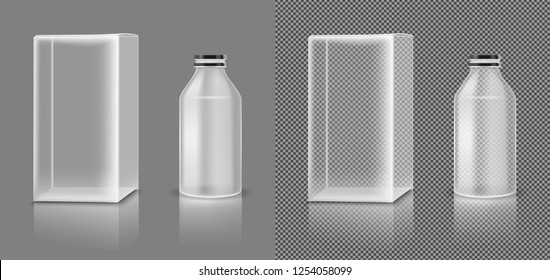 Vector transparent plastic jar with white box for cosmetics, medicines or food.