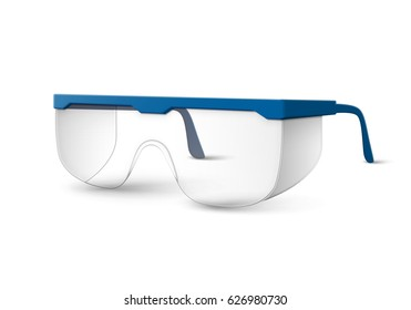 Vector transparent plastic laboratory glasses with blue earpieces isolated on white background
