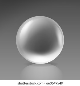 Vector transparent realistic glass ball isolated on background