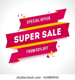 Vector Transparent SALE banner. Geometric Sale background. Super Sale illustration