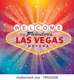 vector transparent sign of Las Vegas with stars and burst on rainbow colors blurry background, layered and fully editable