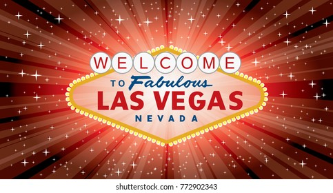 vector transparent sign of las vegas with stars and burst on red background, layered and fully editable