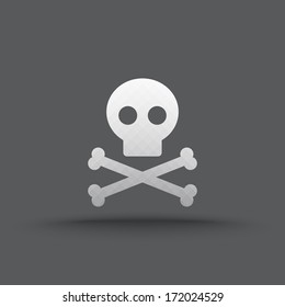 Vector of transparent skull and crossbones icon on isolated background