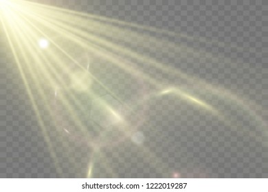 Vector transparent sunlight special lens flare light effect. Bright beautiful star. Light from the rays.