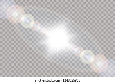 Vector transparent sunlight special lens flare light effect. Sun isolated on transparent background