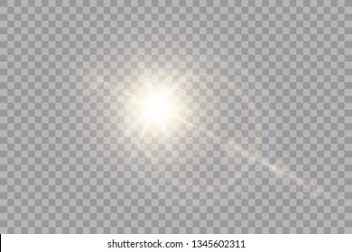 Vector transparent sunlight special lens flare light effect. Sun flash with rays and spotlight. eps 10