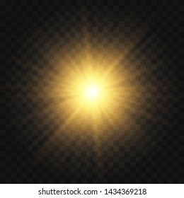 Vector transparent sunlight special lens flash light effect.front sun lens flash. Vector blur in the light of radiance. Light highlight yellow special effect with rays of light and magic sparkles. Sun
