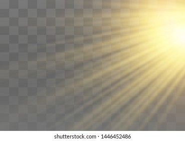 Vector transparent sunlight special lens flash light effect. front sun lens flash. Vector blur in the light of radiance. Element of decor. Horizontal stellar rays and searchlight.