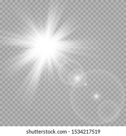 Vector transparent sunlight special lens flash light effect. The flash of the sun and the spotlight