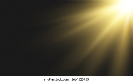 Vector transparent sunlight special lens flash light effect.front sun lens flash. Vector blur in the light of radiance. Element of decor.