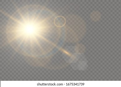 Vector transparent sunlight special lens flash light effect.front sun lens flash. Vector blur in the light of radiance. Element of decor. Horizontal stellar rays and searchlight