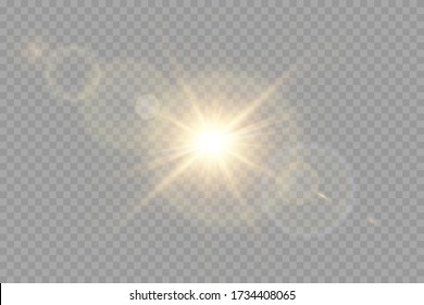 Vector transparent sunlight special lens flash light effect.front sun lens flash. Vector blur in the light of radiance.