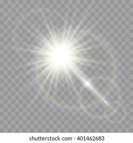 Vector transparent sunlight special lens flare effect.