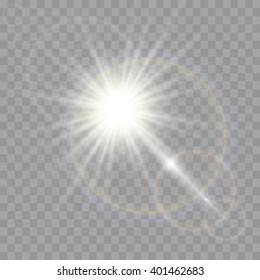 Vector transparent sunlight special lens flare effect.
