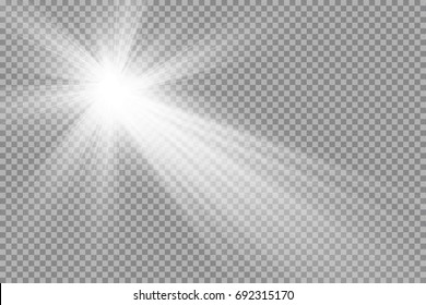 Vector transparent sunlight special lens flare light effect. Sun flash with rays and spotligh