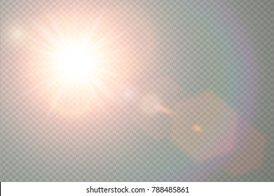 Vector transparent sunlight special lens flare light effect. Sun flash with warm rays and spotlight. Abstract translucent decor element design. Isolated star burst in sky