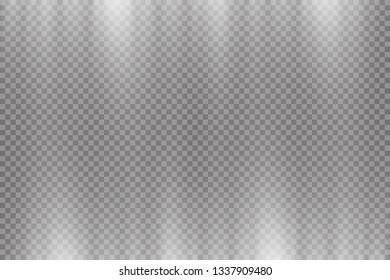 Vector transparent sunlight.Vector scene illuminated by spotlight . Light effect on transparent background