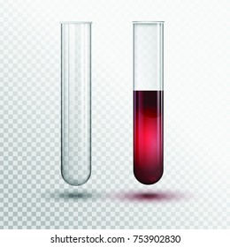 Vector transparent test tube with red liquid.