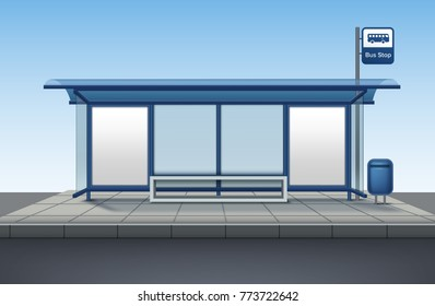 Vector transport bus stop with billboards made of glass and metal with a bench for sitting with blank banner isolated front view