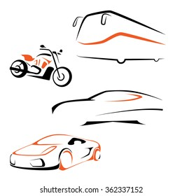 Vector transport icon set. Bus, bike, car, sportscar symbol