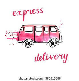 Vector transport illustration in doodle style. Hand drawn bus with black outline and pink watercolor stains, curtains and drips. Isolated on white. Express delivery of fashion and beauty products