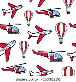 Vector transport pattern. Doodles travel seamless background.