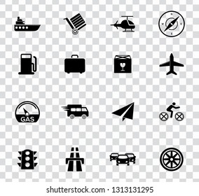 vector transport, tavel, shipping and automobile icons set