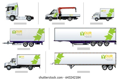 Vector transport template for brand identity, isolated on white. Side views. Available EPS-10 separated by groups and layers with transparency effects for one-click repaint and easy edit.