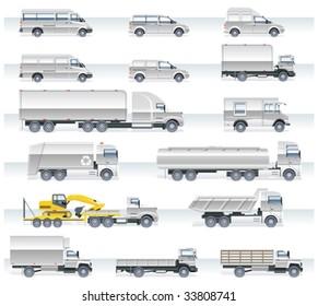 Vector transportation icon set. Trucks and vans