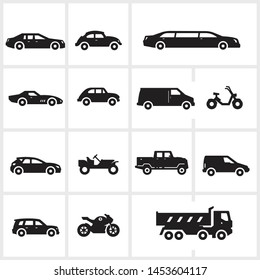 vector transportation icons including car, van, motorcycle, truck, isolated on white background