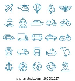 Vector transportation and logistics icons and signs in trendy mono line style - outline illustrations - different vehicles