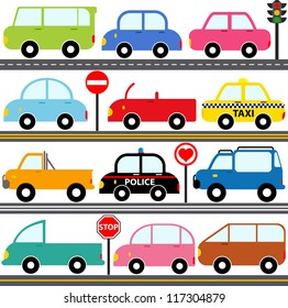 Vector of Transportation theme - Car, van, Vehicle, truck, taxi, police car on road. A set of cute and colorful icon collection isolated on white background