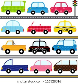Vector of Transportation theme with patterns - Car, van, Vehicle, truck, taxi, police car. A set of cute and colorful icon collection isolated on white background