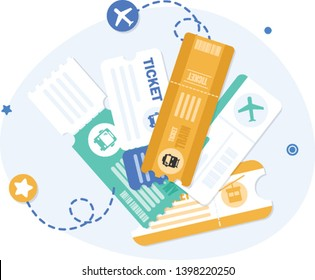Vector transportation tickets,Train, Plane, Tram, Bus. Public transport