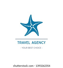 Vector travel agency logo template design with starfish