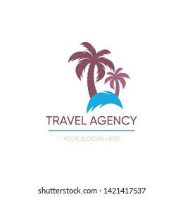 Vector travel agency logo template design palm tree