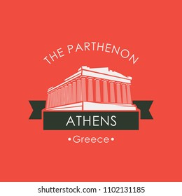Vector travel banner or logo. The famous Parthenon from Athens, Acropolis, Greece. Greek ancient national landmark in retro style on red background