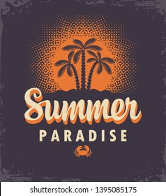 Vector travel banner or logo with palm trees, tropical island, decorative sun and words Summer Paradise on the dark background. Summer poster, flyer, invitation or card in retro style