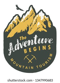 Vector travel banner or pennant in retro style with snow covered mountains, flying eagle and inscription the Adventure begins. Mountain tourism